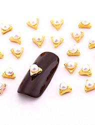 10PCS Small 3d Gold Nail Art Jewelry Alloy Triangle Pearl Nail Art Stud for DIY Salon Nails Decorations