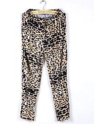 Aihuier elastic waist drawstring tie loose metal buckle leisure leopard Haren pants
