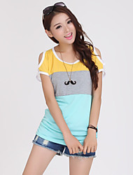 Women's Blue/White/Black/Yellow/Gray T-shirt Short Sleeve