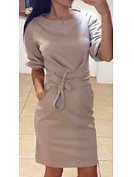 Robes ( Viscose ) Informel Rond Femme