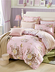 Printed Floral Duvet Cover Sets Queen Striped Flat Sheets