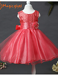 Girl's Summer Sleeveless Sequins Mesh Princess Dresses for Wedding Party(Cotton + Mesh)