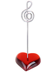 Place Cards and Holders Flat Red Heart Stand Music Notation Wire Place Card Holder Photo Memo Clip