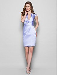 Sheath/Column Mother of the Bride Dress - Lavender Knee-length Sleeveless Satin