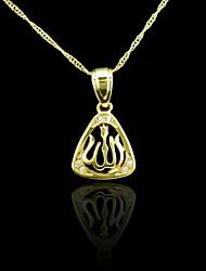 18K plaqué or véritable allah musulman pendentif zircon 3 * 1.7cm