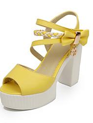 Sandales/Pompes / Talons ( Jaune/Vert/Rose/Ivoire Chaussures à talons/Bout ouvert/Semelle compensée/Spartiates - Talonnette - Similicuir-