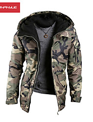 MANWAN WALK®Men's Military Camo Thick Sports Jacket.Warm Casual Slim Fit Hooded Coat.