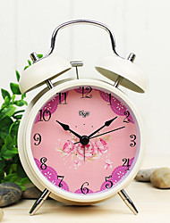 "British Rural Style 4""Dial Twin Bell Mute Alarm Clock Ivory Clock Pinky Rose Dial Home Decor Clock Original Design"