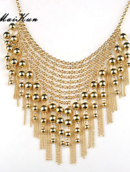Women Golden Bead Pendant Bib Statement Necklace