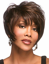 The New European And American Middle-Aged Fluffy Dark Brown Short Hair Wig