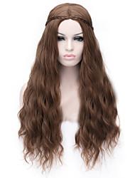 мода коричневый аниме кукуруза горячая вьющиеся волосы парик