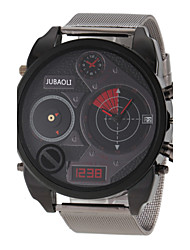 JUBAOLI® Men's Dual Time Zones Design Black Steel Band Quartz Wrist Watch Cool Watch Unique Watch