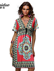Women's Holiday Loose Dress,Print V Neck / Deep V / Cowl / Bow Above Knee Short SleeveBlue / Pink / Red / White / Beige / Black / Brown /