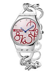 visualización del número grande redondo popular cadena de la mano caja de acero inoxidable de la venta caliente relojes dc-51014