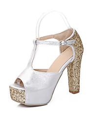 Women's Shoes Glitter Chunky Heel Heels/Platform/Slingback Sandals Dress Silver/Gold