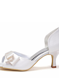 Women's Spring Summer Fall Satin Stretch Satin Wedding Stiletto Heel Satin Flower Ivory