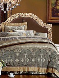 Yota® 4-Piece The high-end Floral Jacquard Silk/Cotton Blend Queen&Full Duvet Cover Sets Light Black Coffee