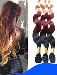 3pcs / lot brasilianische reine Haar ombre Haarverlängerungen drei Ton # 1b / 33/27 menschliche Haarwebart