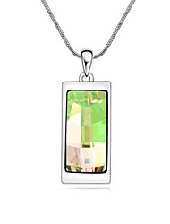 Hidden Love Fashion Short Necklace Plated with 18K True Platinum Luminous Green Crystallized Austrian Crystal Stones