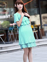 Maternity Summer New Pink Green High Waist Ruffles and Pleated Chiffon Dress