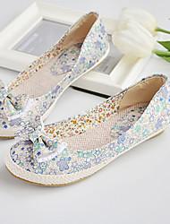 Women's Shoes Fabric Flat Heel Comfort/Round Toe Flats Office & Career/Dress Blue/Red