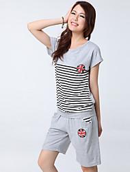 Women's Casual/Cute Micro-elastic Summer Short Sleeve Regular T-shirt with Short Pants Suits (Cotton)