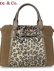 Kate@Co.® Women's Camel Fleece Pvc Animal Stripe Multi-Function Handbag(14 Inch)