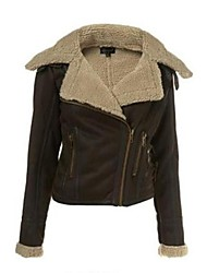 Women's Turn Down Collar Short Fur Jacket