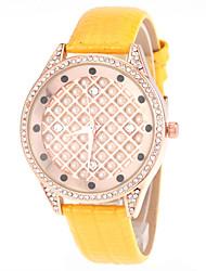 montre à quartz de mode bracelet en cuir de cadran en nacre blanche de dame