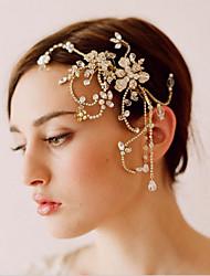 European and American High-end Bride Headdress Hand Beaded Tassels Straight Hair
