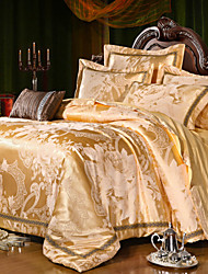 Luxury Jacquard Silk Cotton King Queen Size 4pcs Bedding Set Pillowcase Duvet CoverHome Textiles Quilt Cover Flat Sheet