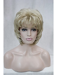 "New  Fluffy Wave Short 14"" Women's Wigs  Honey Blonde Mix Blonde Synthetic Hair Full Wig"