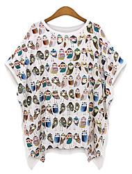 Informell/Bedruckt Rund - Kurzarm - FRAUEN - T-Shirts ( Baumwolle )