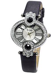 oval moldura forma de marcação claro cristal moldura faixa de couro conector grande diamante de alta relógios de quartzo dc-51047
