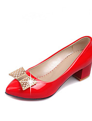 Women's Shoes Patent Leather Summer/ Pointed Toe Heels Office & Career / Casual Chunky Heel Bowknot / Sparkling Glitter