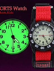 Kids Supper Light Luminous Quartz Sports Watch Canvas Nylon Strap Military Wristwatch Boy Students (Assorted Colors)