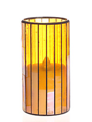 Home Impressions™ 3*6 Inch Yellow Vertical Stripes Mosaic Glass with Flameless Led Candle with Timer, Battery Operate