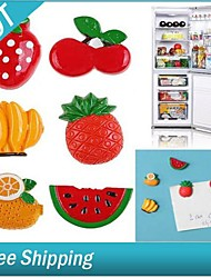 Set of 6 Resin Fruit Style Fridge Magnet Sheet (Random Color) 3.8*3.1*1.5 cm