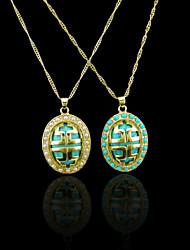 18K plaqué or véritable perle / collier bleu 2.1 * 3.4cm
