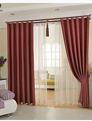 One Panel Red Solid Linen / Cotton Blend Panel Curtain