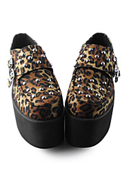Handmade Leopard 10cm Platform Gothic Lolita Shoes with