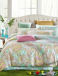 100% de atividade tencel quatro peças de cama jogo de cama colcha de linho colcha edredon cobrir folha fronha plana