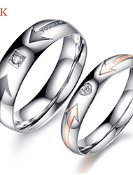 OPK®2PC AAA Zirconium Drill Symbol of Eternal Love Stainless Steel Couple Rings Love the Arrow
