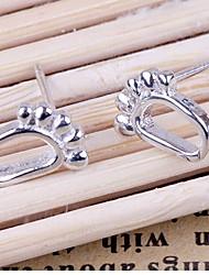 KIKI 925 South Korea traces of footprints Silver Earrings