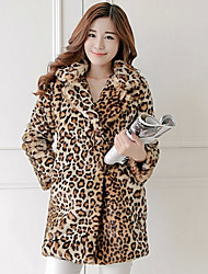 Fur Coats Coats/Jackets Long Sleeve Faux Fur As Picture