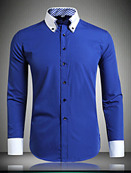 Men's Work/Formal Solid Long Sleeve Button Down Shirt