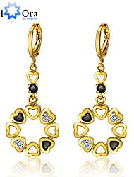 Fashion Gold Plated Long Dangle Earrings Vintage Cubic Zirconia Drop Earrings For Women