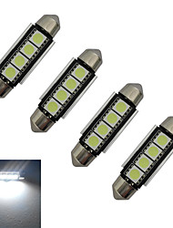 JIAWEN® 4pcs Festoon 42mm 1.5W 4x5050SMD 80-90LM 6000-6500K Cool White Light LED Car Light (DC 12V)