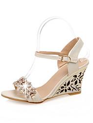 Sandalias ( Azul/Plateado/Beige Zapatos con plataforma/Punta abierta - Tacón Cuña - Cuero sintético - para MUJERES