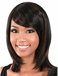 The New European And American Black Oblique Bangs Long Hair Wig